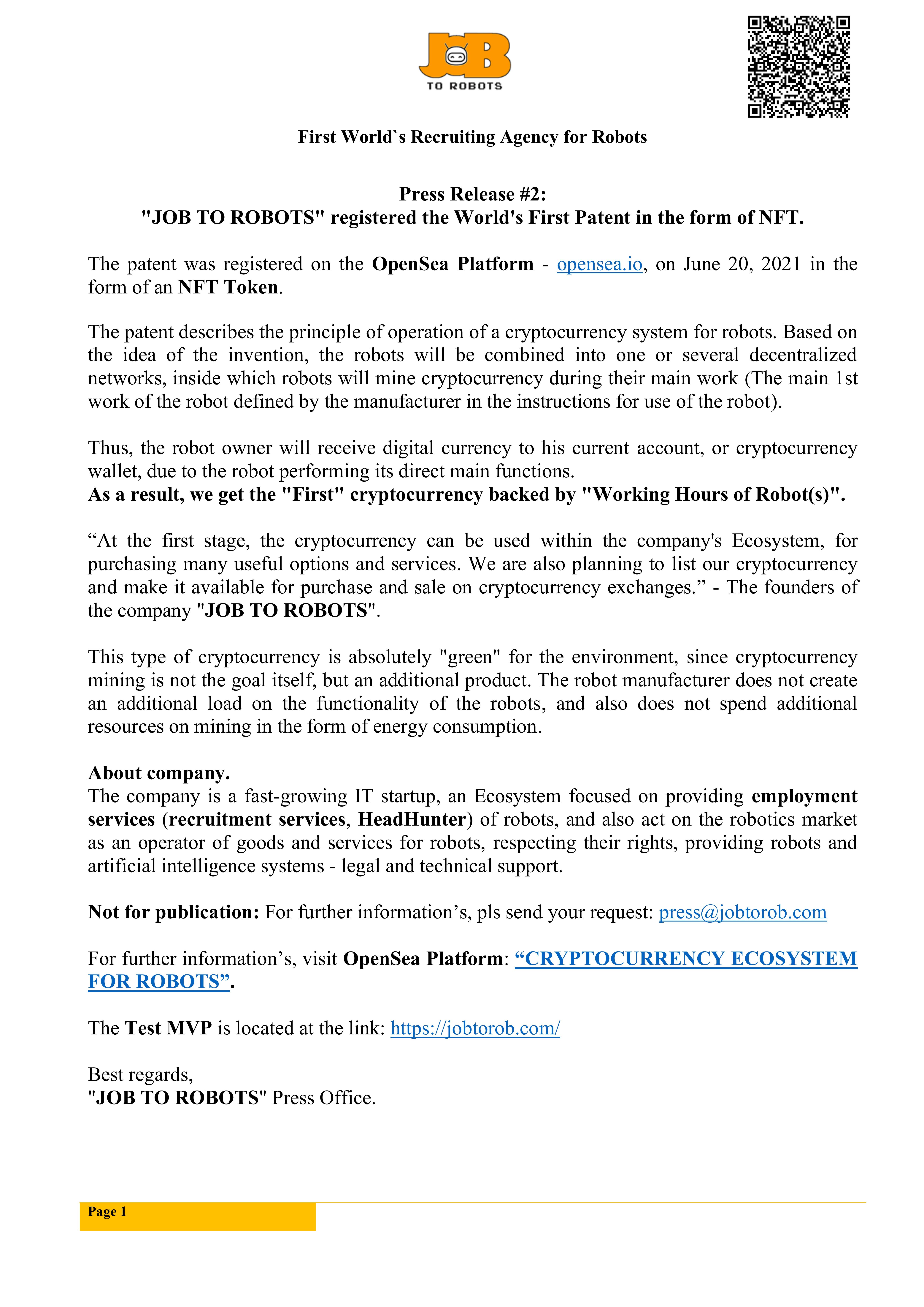Press Release #2: